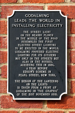 Heritage sign for Godalming's pioneering electric lighting