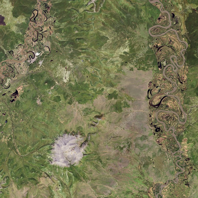 Siberian permafrost and crater, satellite image