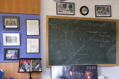 Blackboard in Stephen Hawking's office