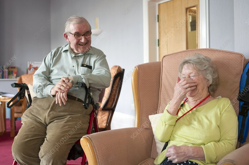 Care home residents laughing