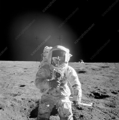 Apollo 12 astronaut Conrad on the Moon, 1969