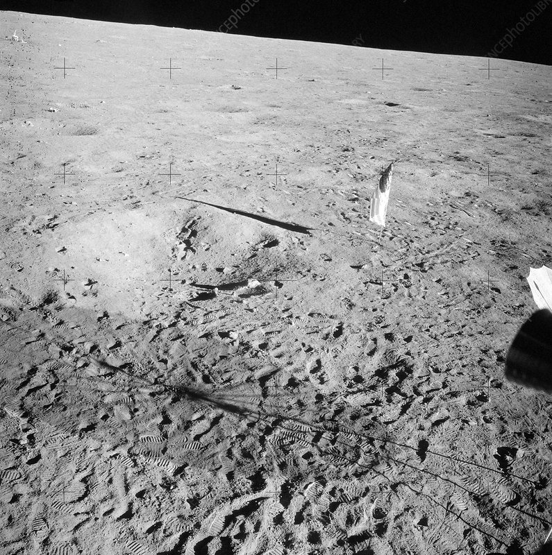 Apollo 12 flag, footprints and shadows, 1969