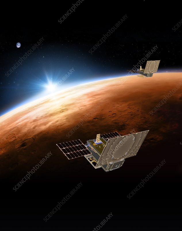 MarCO CubeSats at Mars, illustration