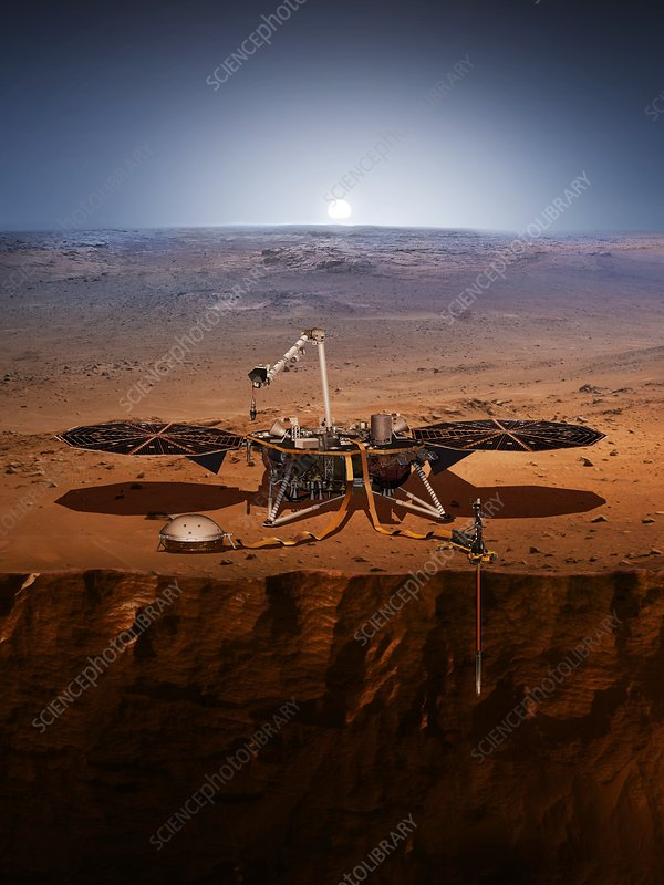 InSight lander on Mars, illustration