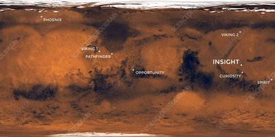 Mars mission landing sites, labelled map