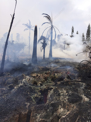 Cracked ground due to Kilauea eruption, May 2018