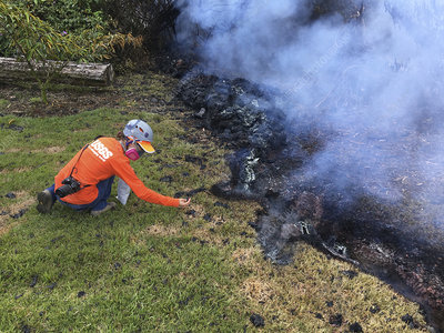 USGS scientist monitoring Kilauea eruption, May 2018