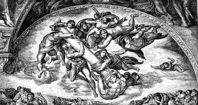 Michelangelo's 'The Last Judgment', 19th C illustration