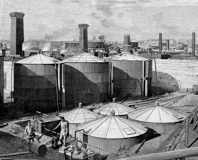 19th Century Russian oil and fuel plant, illustration