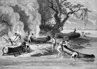 Prehistoric men building canoes, 19th Century illustration