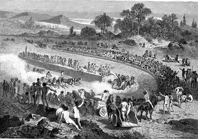 Prehistoric racing, 19th Century illustration