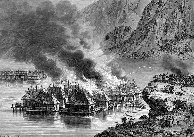 Fire in lakeside village, 19th Century illustration