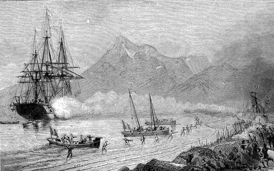 D'Urville attacking Tonga, 19th Century illustration