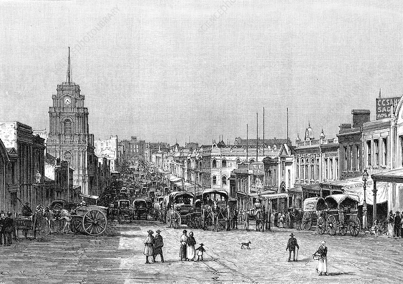 19th Century Melbourne, Australia, illustration