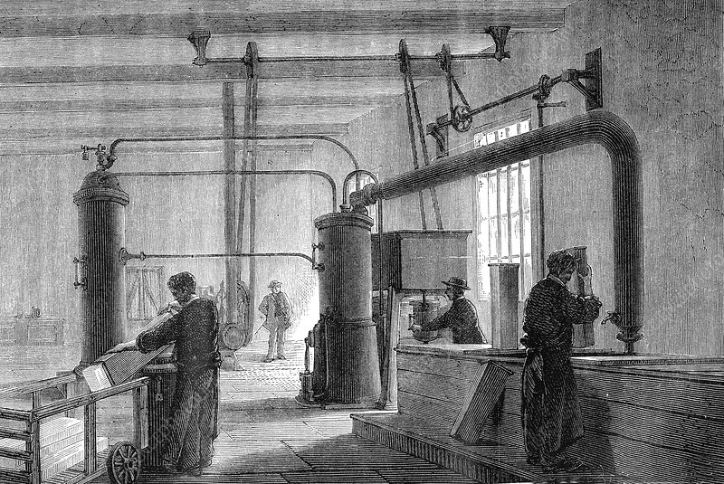 19th Century ice factory, illustration