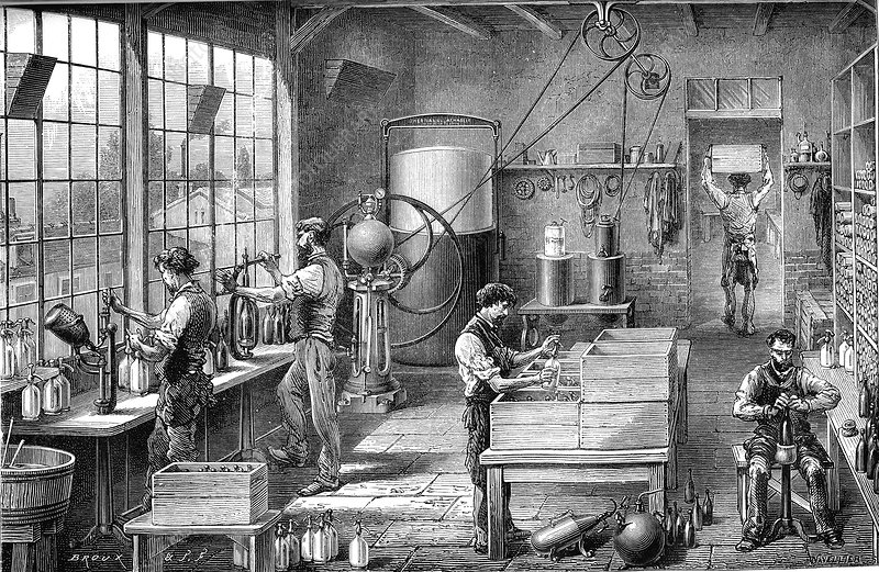 19th Century soda water factory, illustration