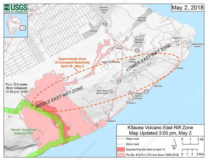 Kilauea eruption earthquake map, 2 May 2018 - Stock Image