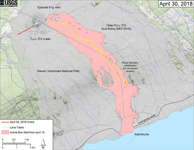 Kilauea eruption map, 30 April 2018