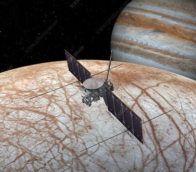 Europa at Jupiter's moon Europa, illustration