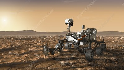 Mars 2020 rover on Mars, illustration