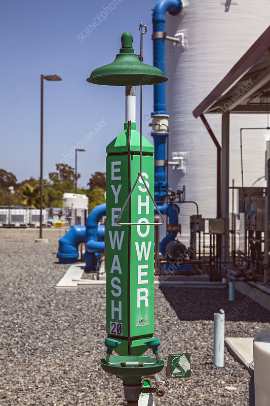 Emergency shower at water treatment facility, California, US