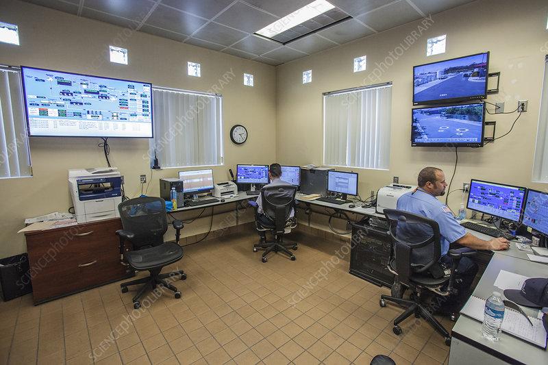 Water treatment facility control room, California, USA