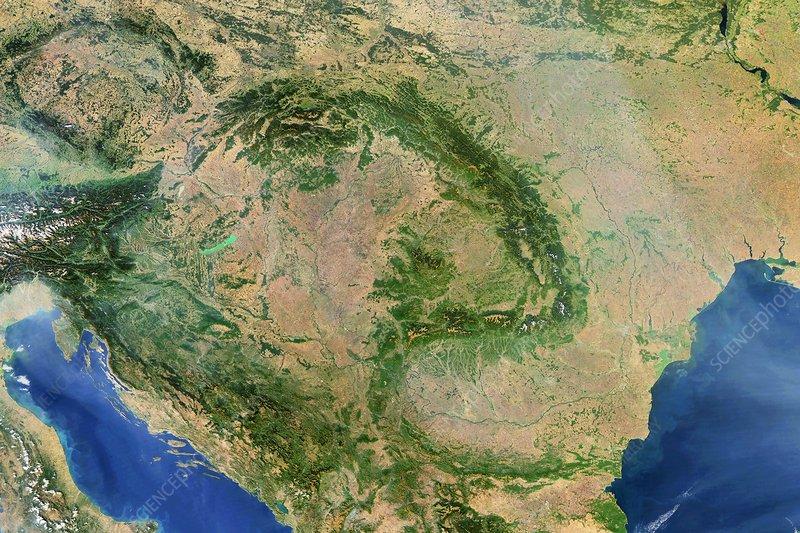 Pannonian Basin, satellite image