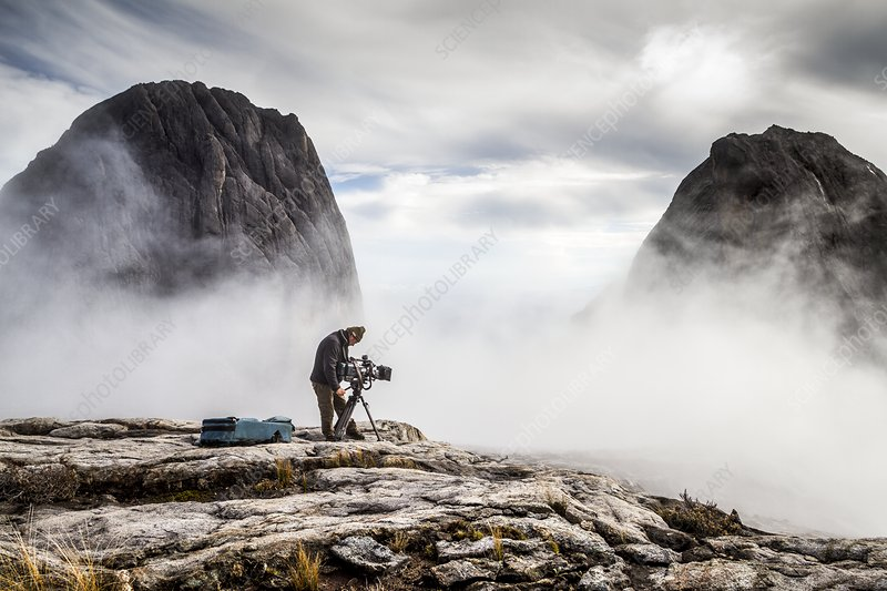 Cameraman filming, Mount Kinabalu, Borneo