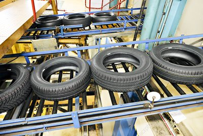 Tyres on production line, UK