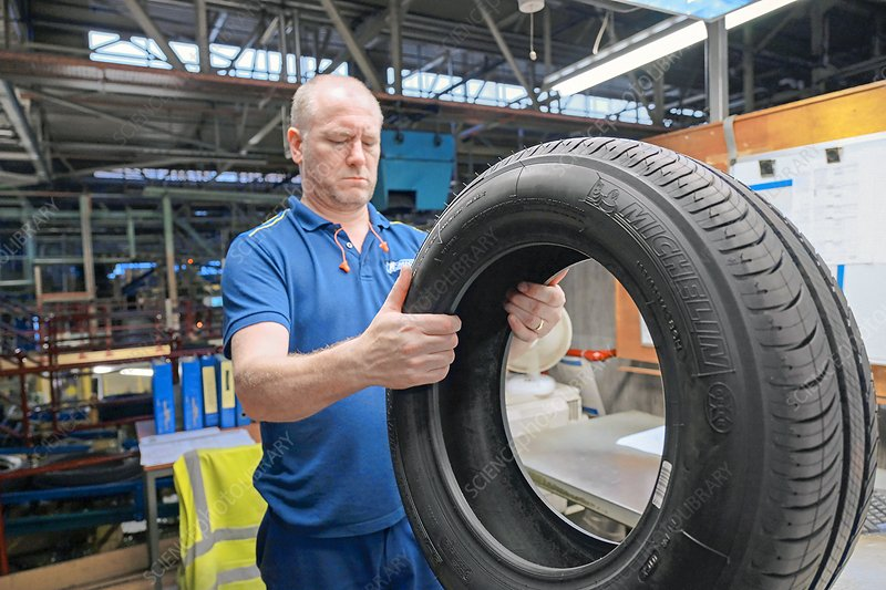 Quality control in tyre factory, UK