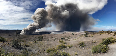 Ash plume rising from a vent on Kilauea, May 2018