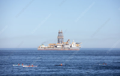 Drilling ship at sea