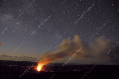 Ash plume rising at night from Kilauea, April 2008