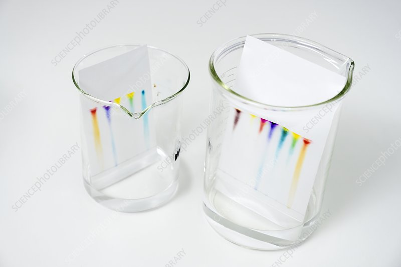 Chromatography of coloured inks