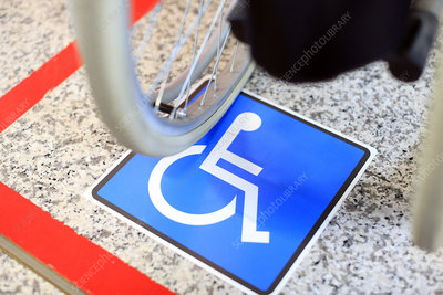 Disabled parking space and wheelchair