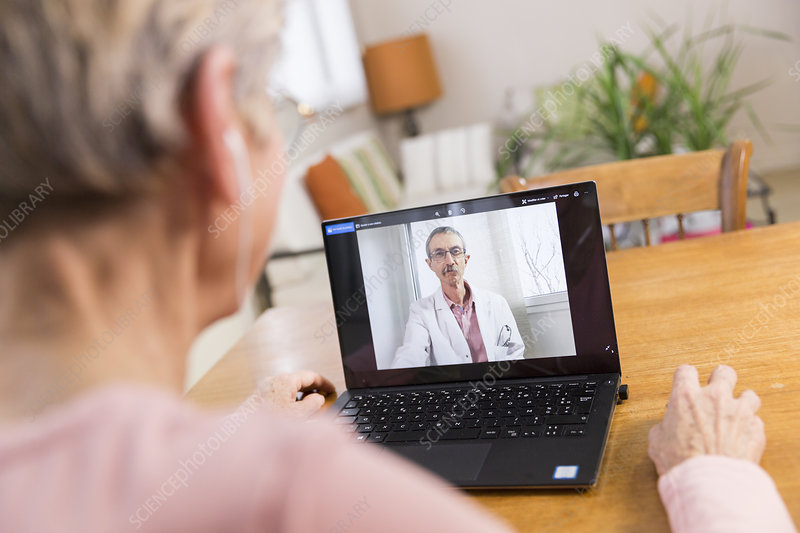 Senior woman teleconsulting from home