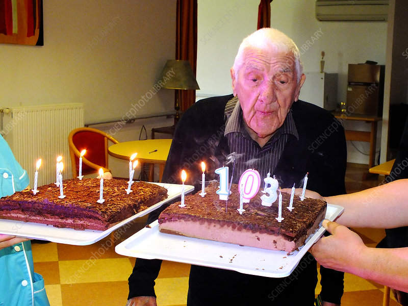 103-year-old birthday party in a retirement home