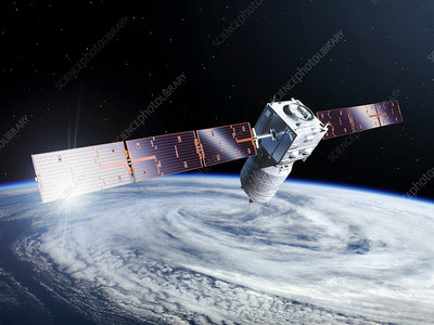 ADM-Aeolus satellite and cyclonic storm, illustration