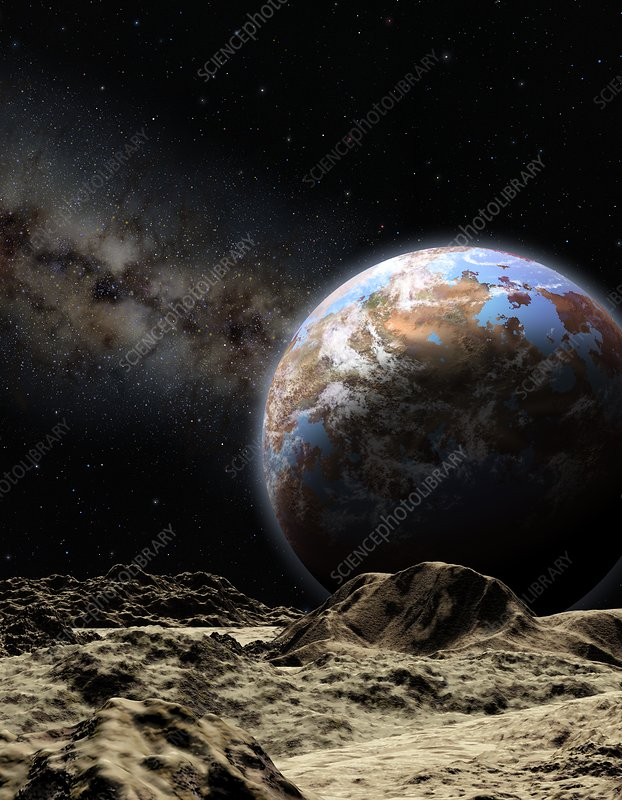Earth-like planet seen from its moon, illustration