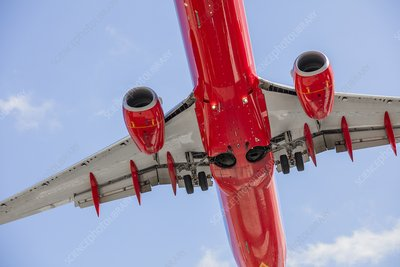 Passenger jet seen from below