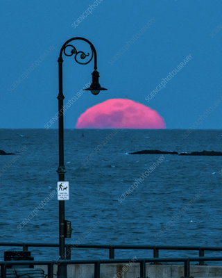 Full moon rising over ocean