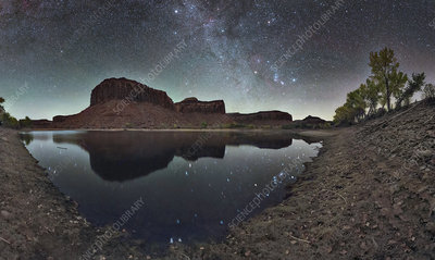 Constellations reflected in reservoir