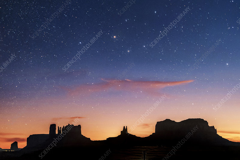 Dusk Monument Valley Utah Usa Stock Image C039 0064 Science Photo Library