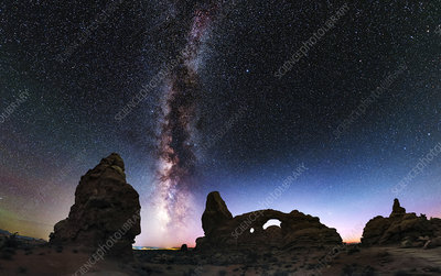 Milky Way and Turret Arch, Utah, USA