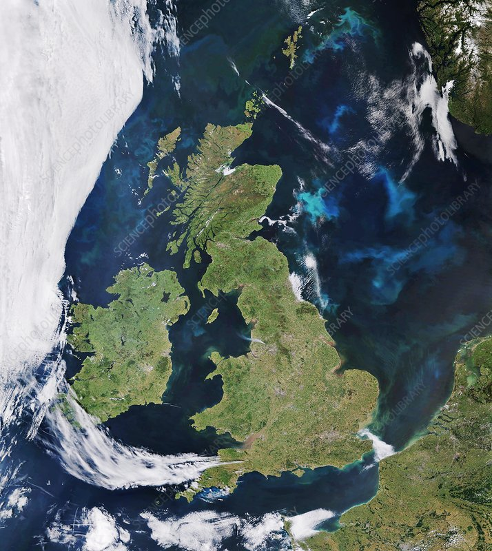 Satellite view of smoke plumes over Lancashire, England