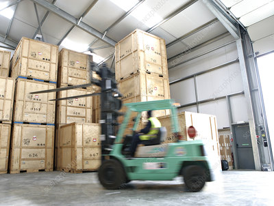 Crates in removals and storage facility