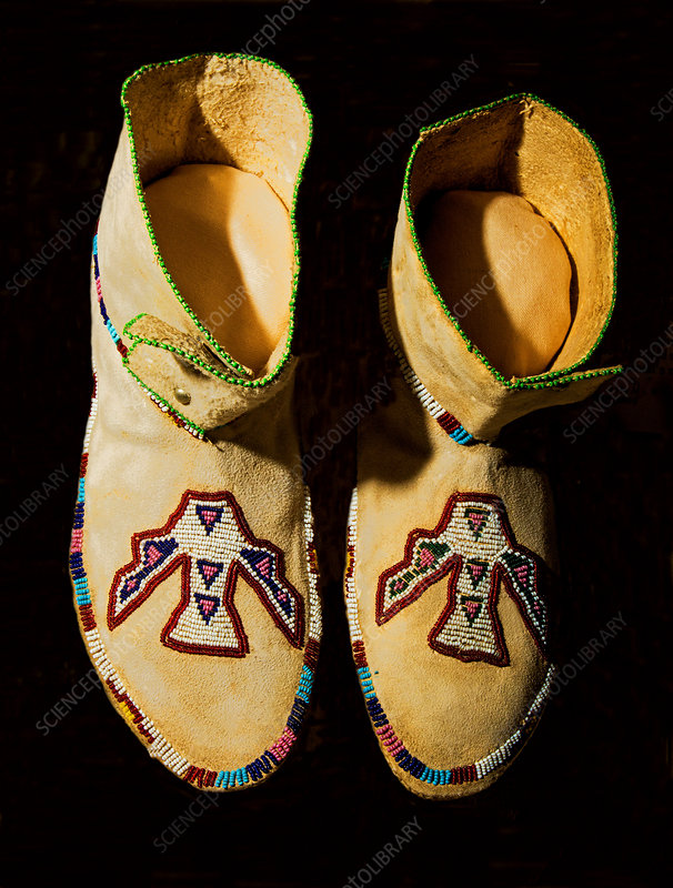 1870's Kiowa Indian Woman's Deer Skin Moccasins