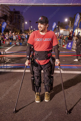 Man with Medical Exoskeleton Prepares for Footrace