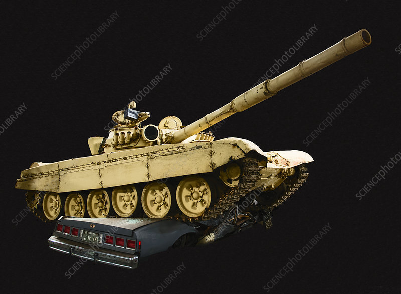 T72A Russian Tank Driving over Automobile