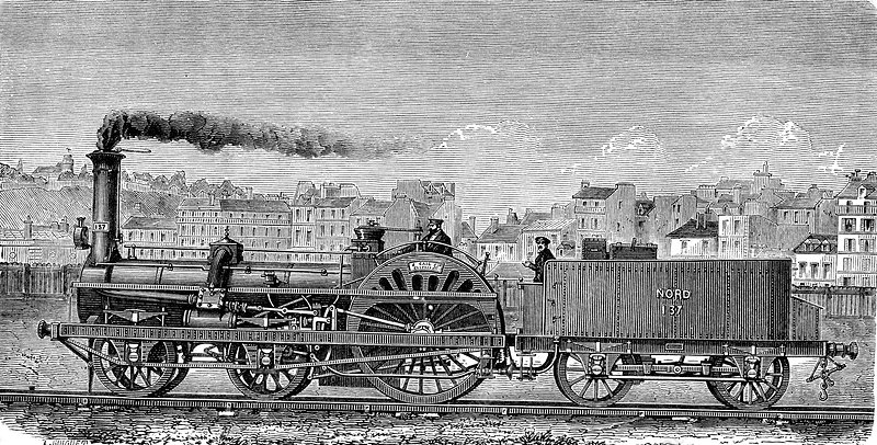 Crampton steam locomotive, 19th century - Stock Image - C039